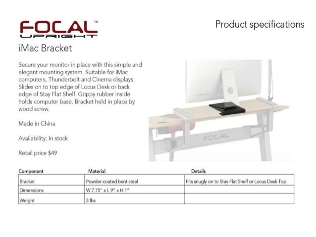 Focal upright i mac monitor bracket