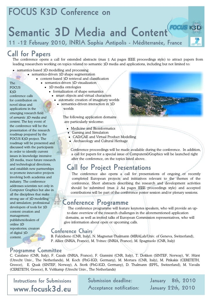 CfP: FOCUS K3D Conference on Semantic 3D Media and Content