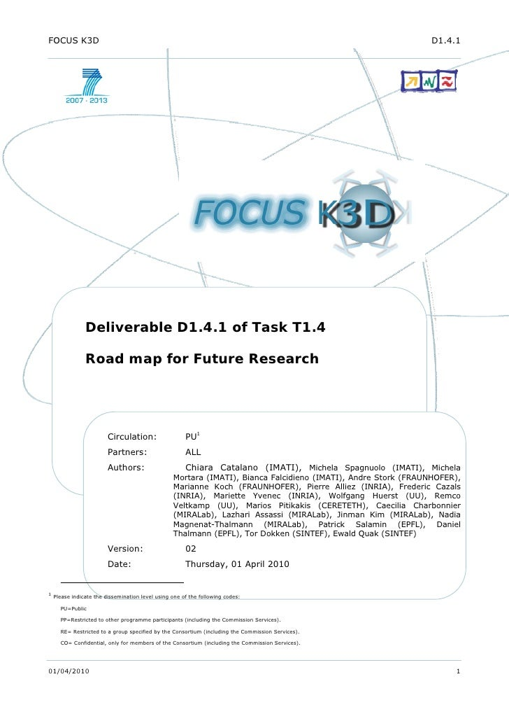 FOCUS K3D Research Road Map