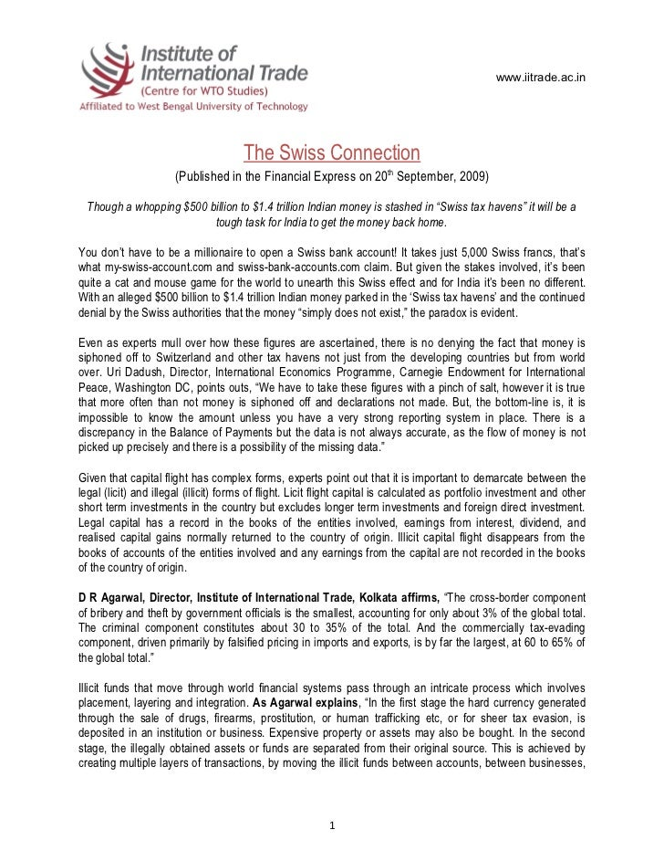 www.iitrade.ac.in                                       The Swiss Connection                       (Published in the Finan...