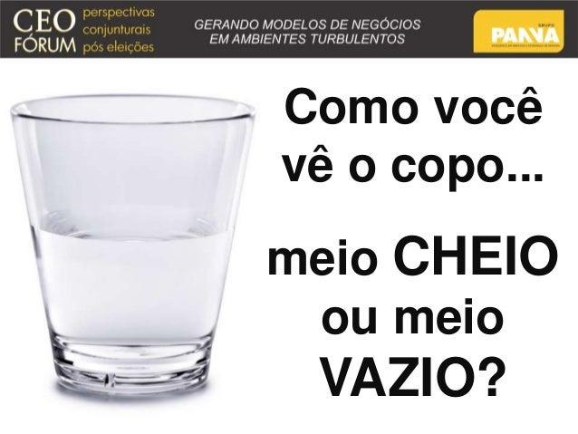 Como você  vê o copo...  meio CHEIO  ou meio  VAZIO?