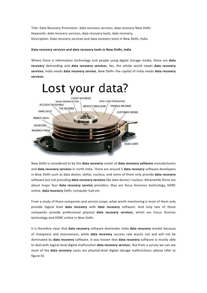 Data recovery services and data recovery tools in New Delhi, India