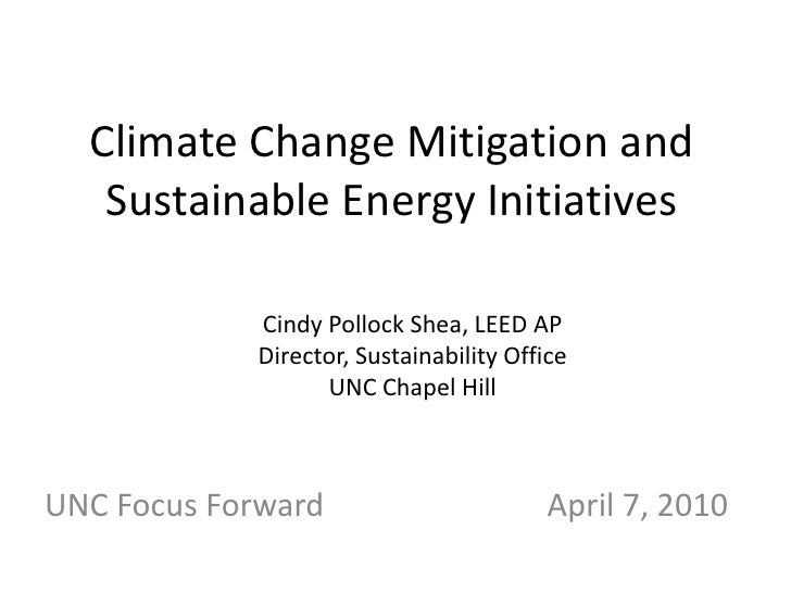 Climate Change Mitigation & Sustainable Energy Initiatives