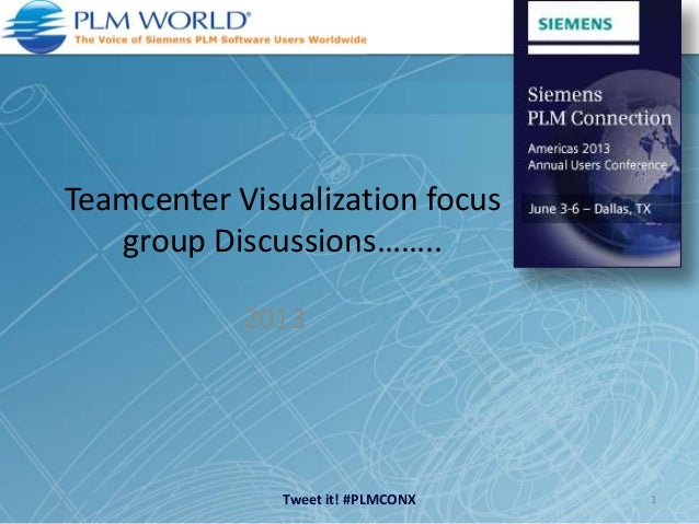 Tweet it! #PLMCONXTeamcenter Visualization focusgroup Discussions……..20131
