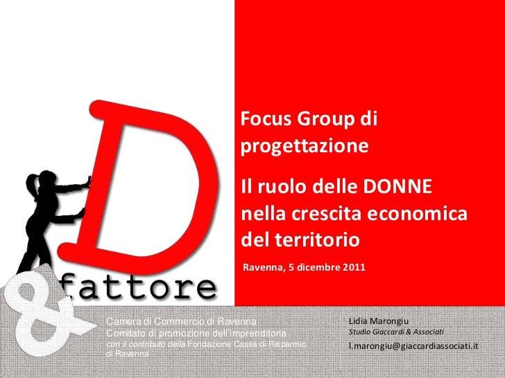 Focus Group di                                   progettazione                                   Il ruolo delle DONNE     ...