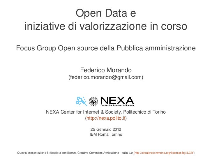 Focus Group Open Source 25.1.2012 Federico Morando
