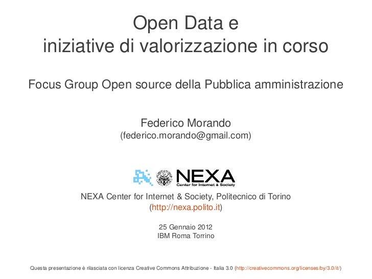 Focus Group Open Source 25.1.2012 Federico Morando