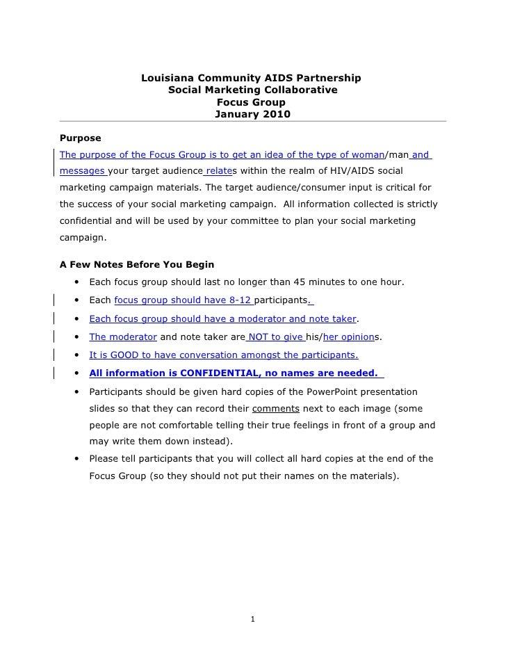 Focus  Group  Procedures 2010