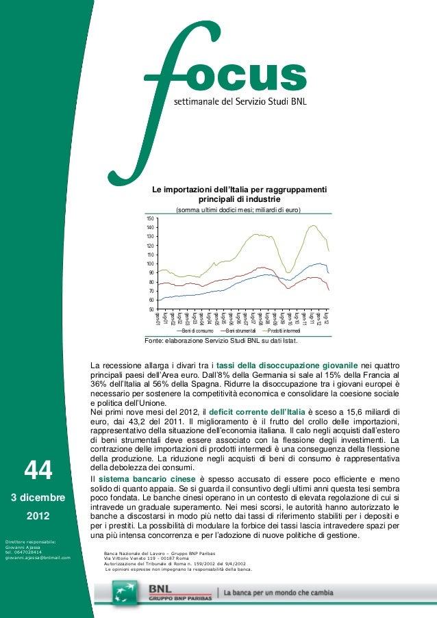 Le importazioni dell'Italia per raggruppamenti                                                                   principal...