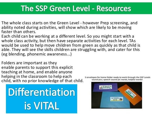 Focus on SSP Green Level (Speech Sound Pics Approach)