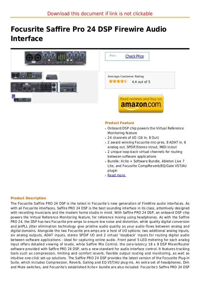 Focusrite saffire pro 24 dsp firewire audio interface