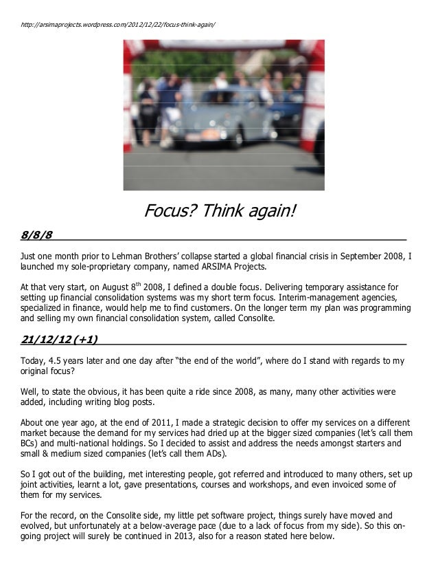 Focus? Think again!