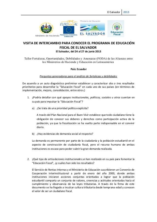 Ecuador: Fortalezas, Oportunidades, Debilidades y Amenazas (FODA) en Educación Fiscal - 2