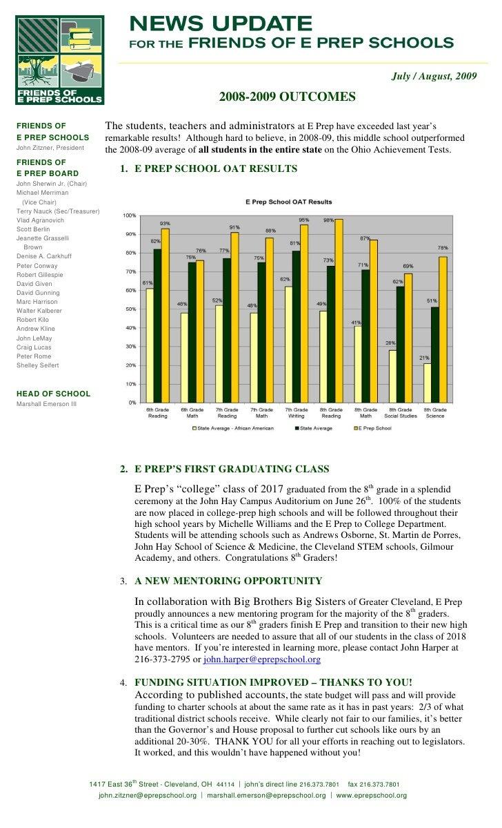 E Prep School 2009 Ohio Achievement Test Scores