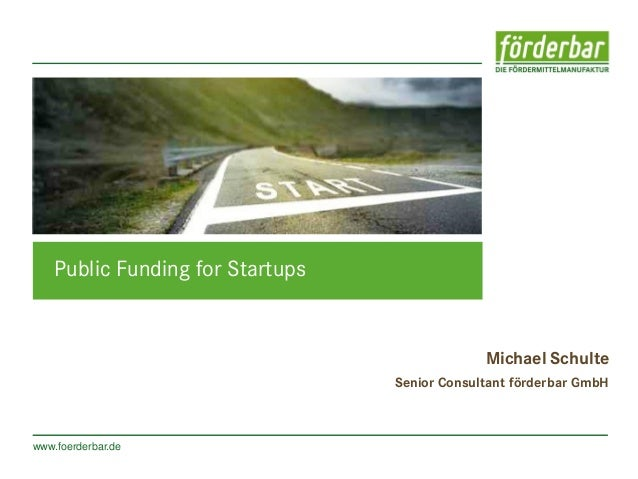 Public Funding for Startups