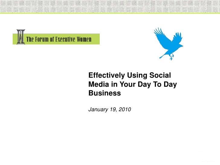 Foew Social Media Presentation Jan 2010