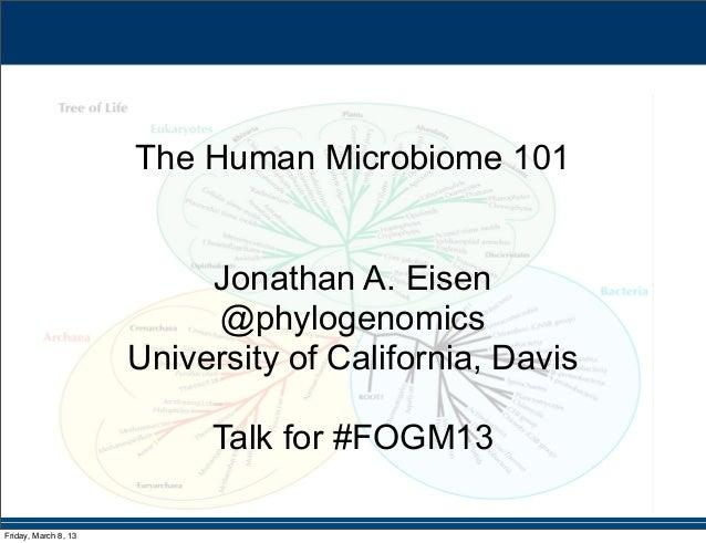 The Human Microbiome 101                           Jonathan A. Eisen                           @phylogenomics             ...