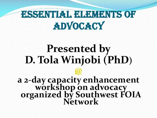 Essential Elements of Advocacy