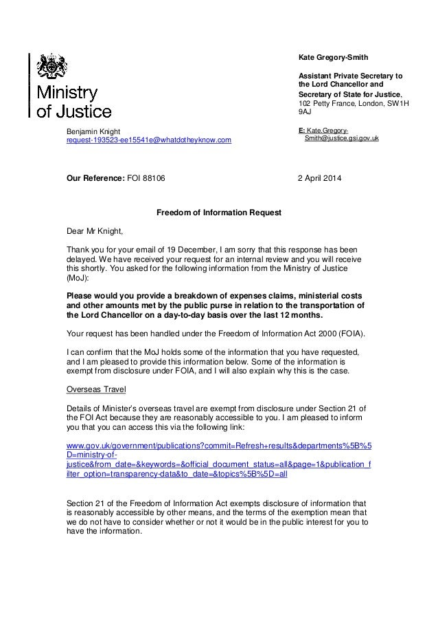 The Lord Chancellor's very late reply to my FOI Request about his travel expenses