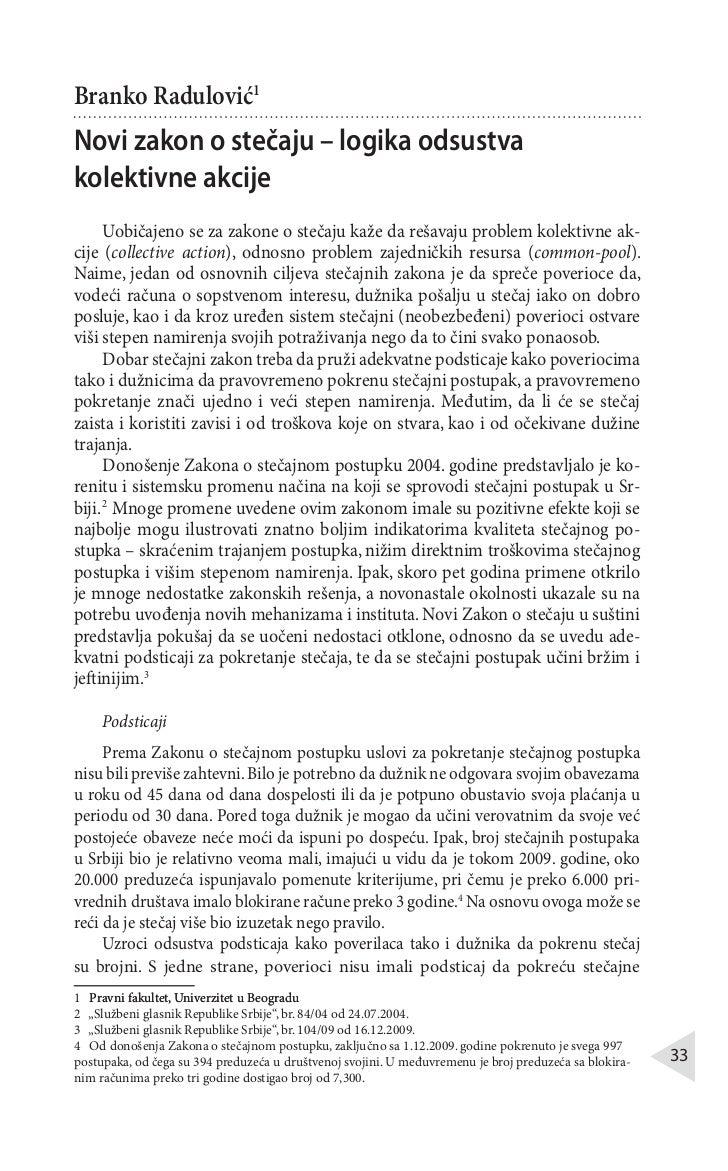 Branko RadulovićNovi zakon o stečaju – logika odsustvakolektivne akcije      Uobičajeno se za zakone o stečaju kaže da reš...