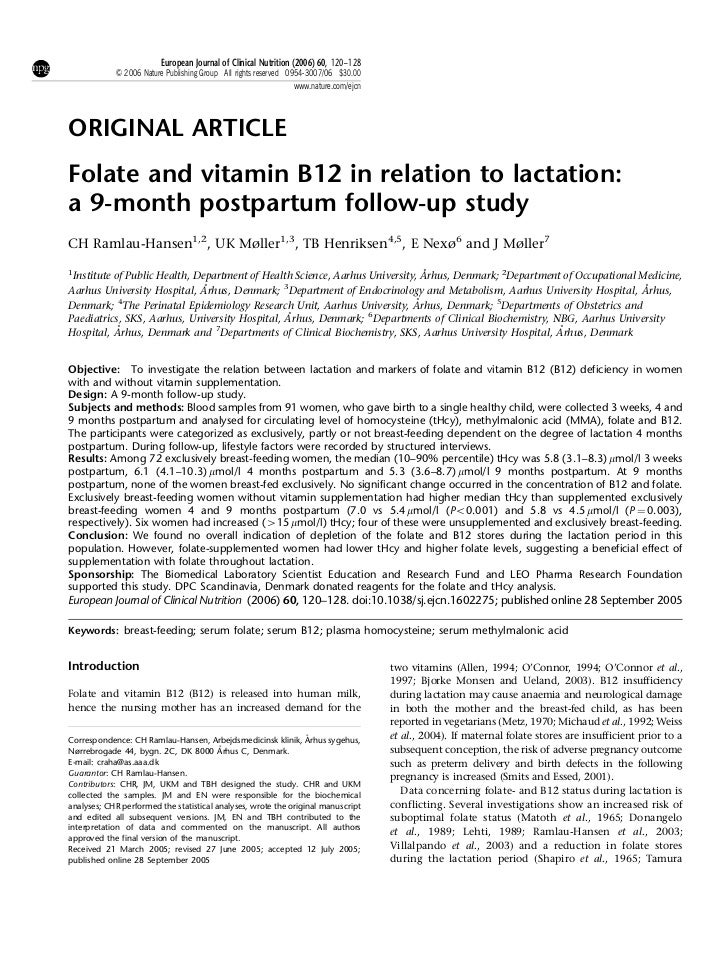 European Journal of Clinical Nutrition (2006) 60, 120–128            & 2006 Nature Publishing Group All rights reserved 09...