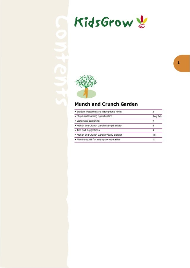 KidsGrowContents                                                     1       Munch and Crunch Garden       • Student outco...
