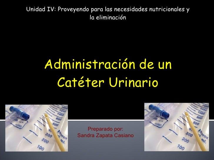 Unidad IV: Proveyendo para las necesidades nutricionales y la eliminación Administración de un Catéter Urinario Preparado ...