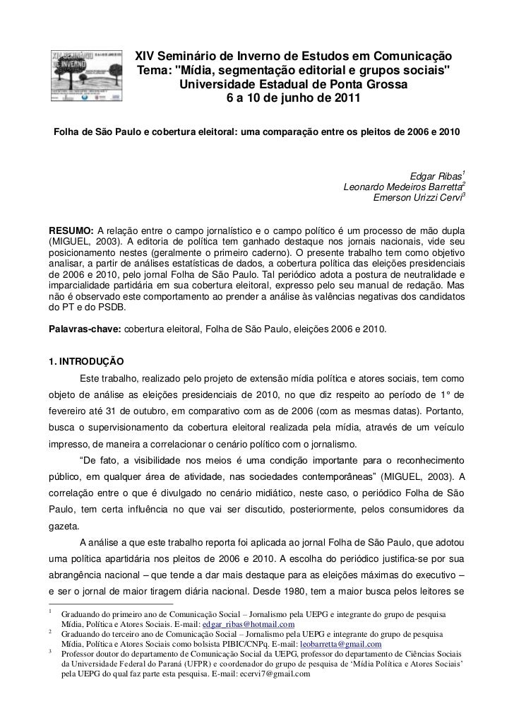 Folha de são paulo e cobertura eleitoral uma comparação entre os pleitos de 2006 e 2010