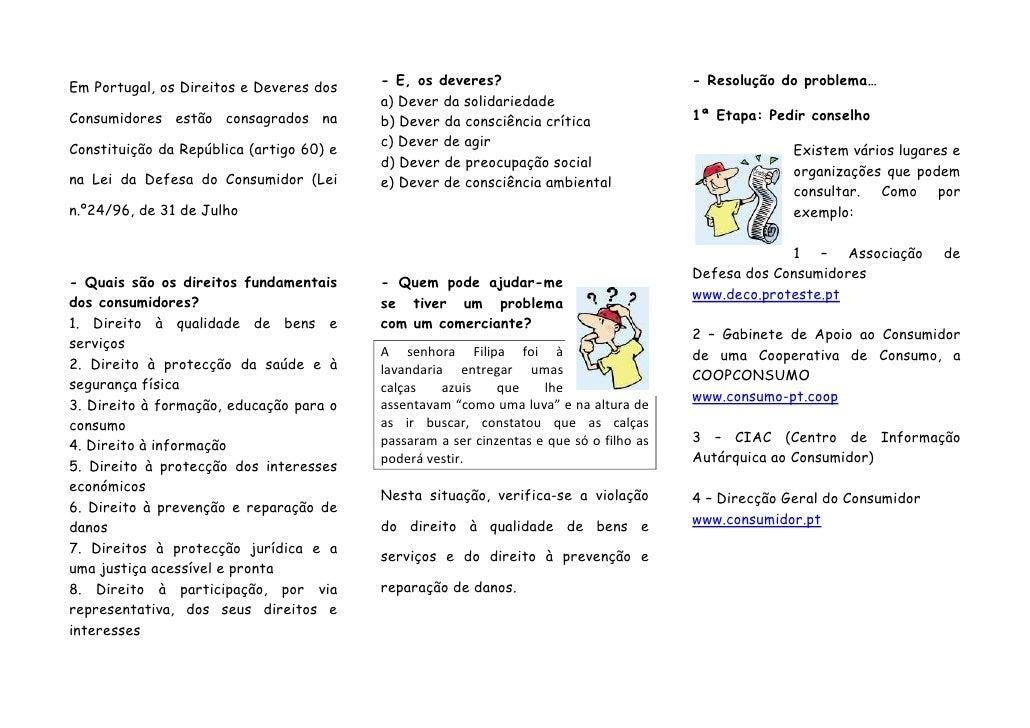 Em Portugal, os Direitos e Deveres dos    - E, os deveres?                               - Resolução do problema…         ...