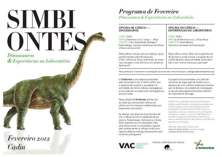 SIMBI                                Programa de Fevereiro                                Dinossauros & Experiências no La...