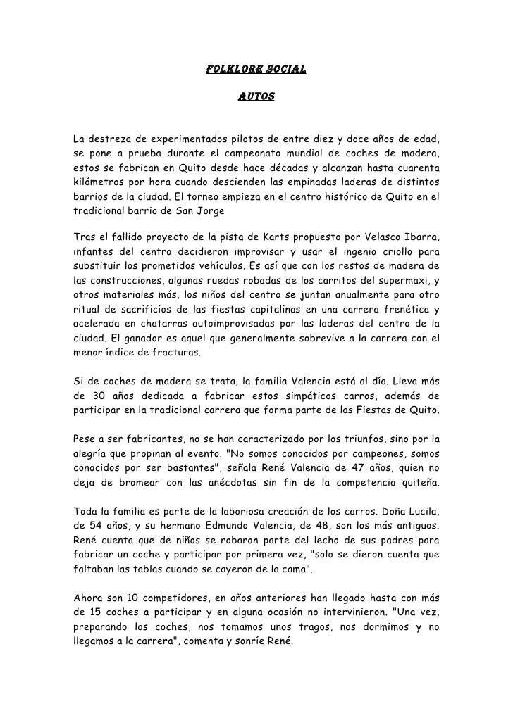 FOLKLORE SOCIAL                                    AUTOS   La destreza de experimentados pilotos de entre diez y doce años...