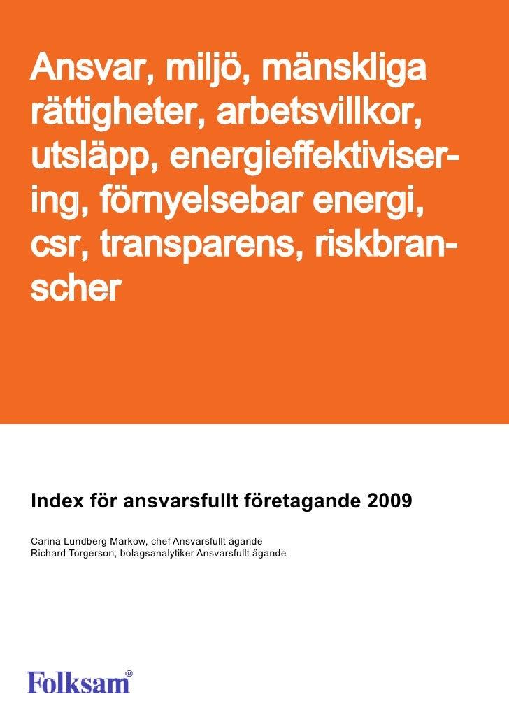 Folksams Index för ansvarsfullt företagande 2009