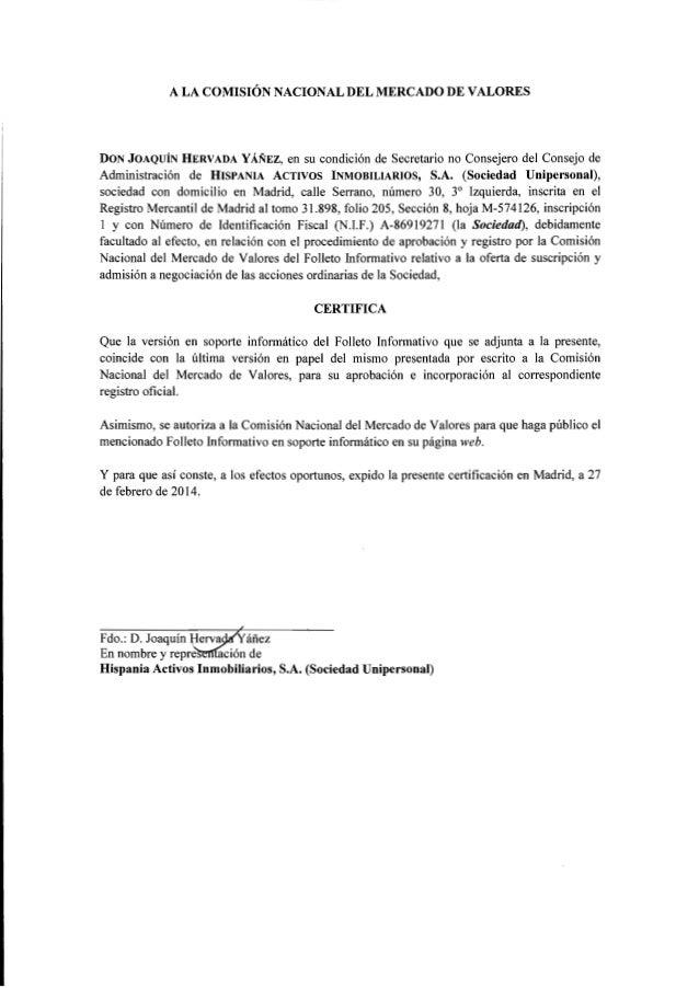 FOLLETO INFORMATIVO  OFERTA DE SUSCRIPCIÓN Y ADMISIÓN A NEGOCIACIÓN DE ACCIONES Oferta de suscripción: importe efectivo de...