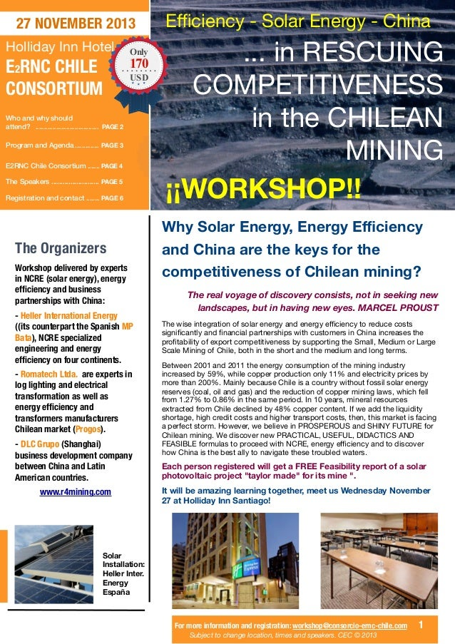 27 NOVEMBER 2013 Holliday Inn Hotel  E2RNC CHILE CONSORTIUM  Only  170 USD  Who and why should attend? ......................