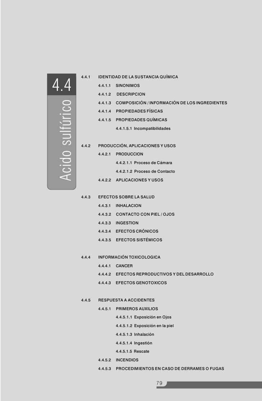 4.4.1   IDENTIDAD DE LA SUSTANCIA QUÍMICA  4.4                        4.4.1.1                            4.4.1.2          ...