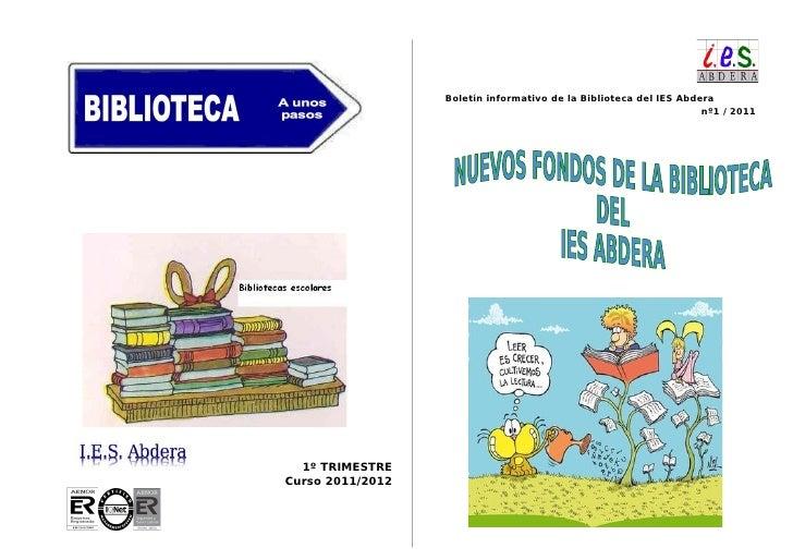 Boletín informativo de la Biblioteca del IES Abdera                                                                   nº1 ...