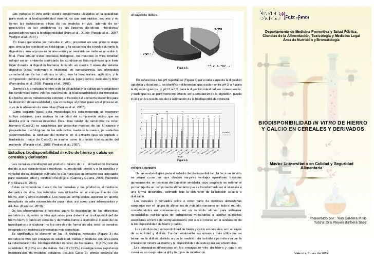 Biodisponibilidad in vitro de hierro y calcio en cereales y derivados