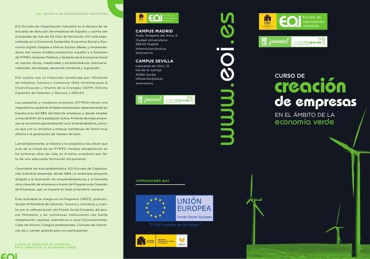 Curso Gratuito 400h: Creación de Empresas en el ámbito de la Economía Verde (Septiembre 2011)