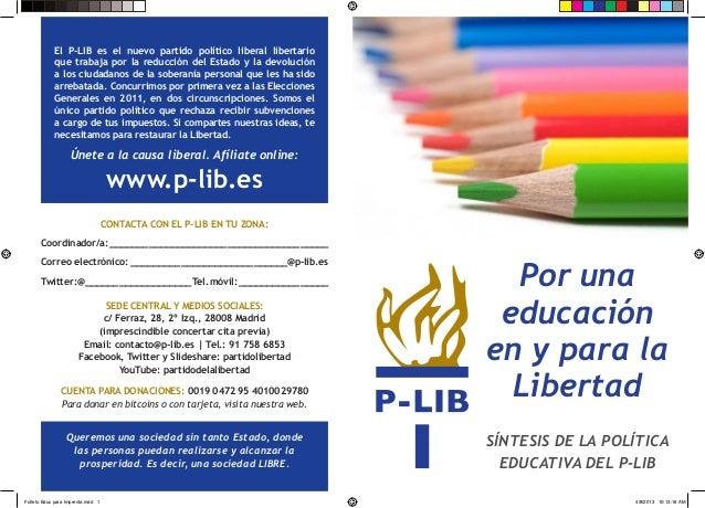 Un modelo educativo liberal. Propuestas del P-LIB