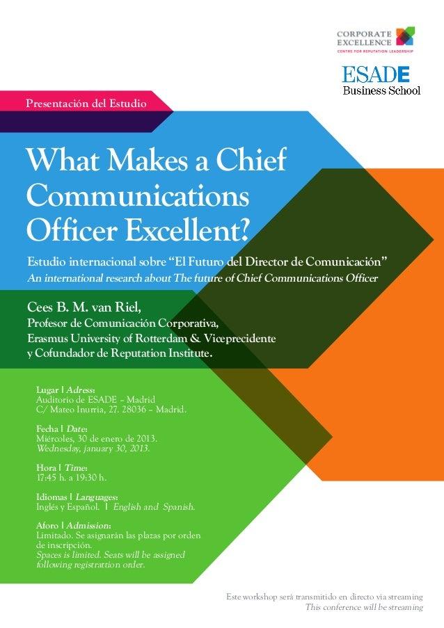 "Presentación del EstudioWhat Makes a ChiefCommunicationsOfficer Excellent?Estudio internacional sobre ""El Futuro del Direc..."