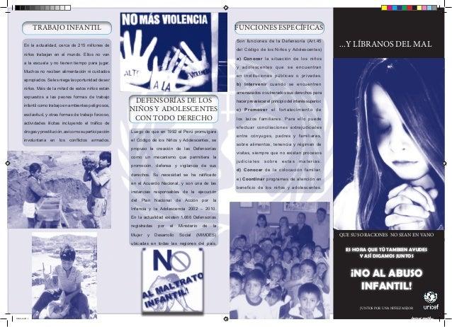 TRABAJO INFANTIL  FUNCIONES ESPECÍFICAS Son funciones de la Defensoría (Art.45  En la actualidad, cerca de 215 millones de...