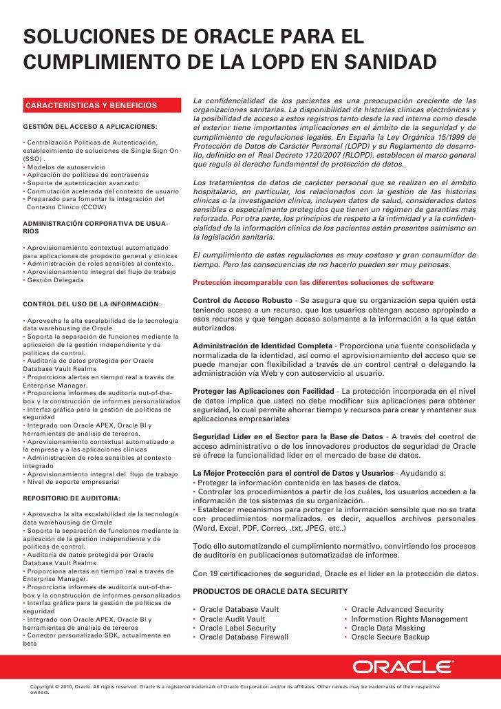 SOLUCIONES DE ORACLE PARA ELCUMPLIMIENTO DE LA LOPD EN SANIDAD                                                            ...