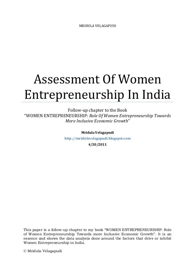 Follow up chapter on  analysis of the women entrepreneurs in india
