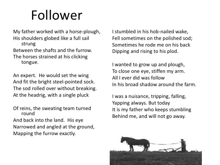 the follower poem essay The poem 'follower' shows more in the relationship, between heaney and his family 'follower' can interpret that heaney was brought up in the farm land with his family and also express this with other poems which suggests that he enjoyed farming.