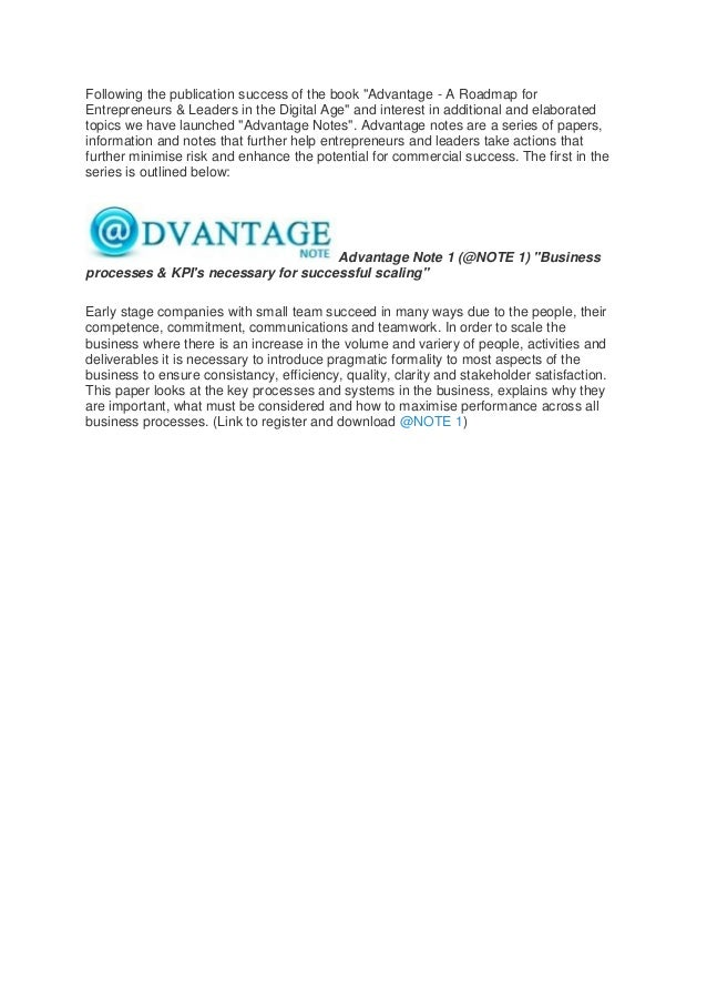 """Advantage NOTES launched with """"Business Processes & KPI's for Scaling"""""""