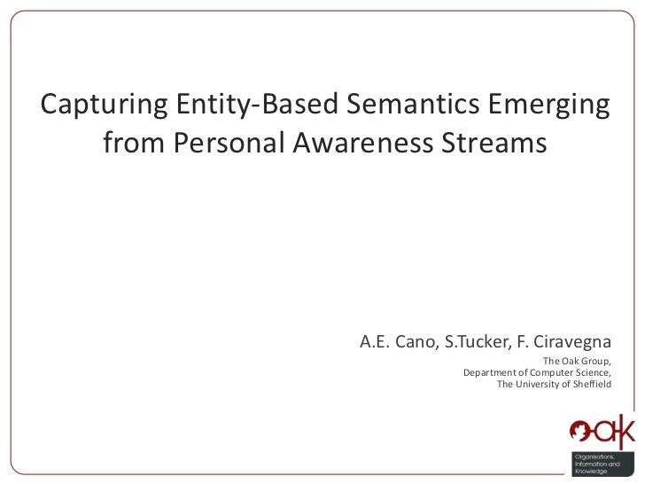Capturing Entity-Based Semantics Emerging from Personal Awareness Streams <br />A.E. Cano, S.Tucker, F. Ciravegna<br />The...