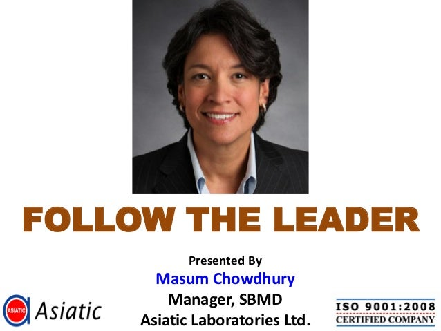 FOLLOW THE LEADER            Presented By       Masum Chowdhury         Manager, SBMD     Asiatic Laboratories Ltd.