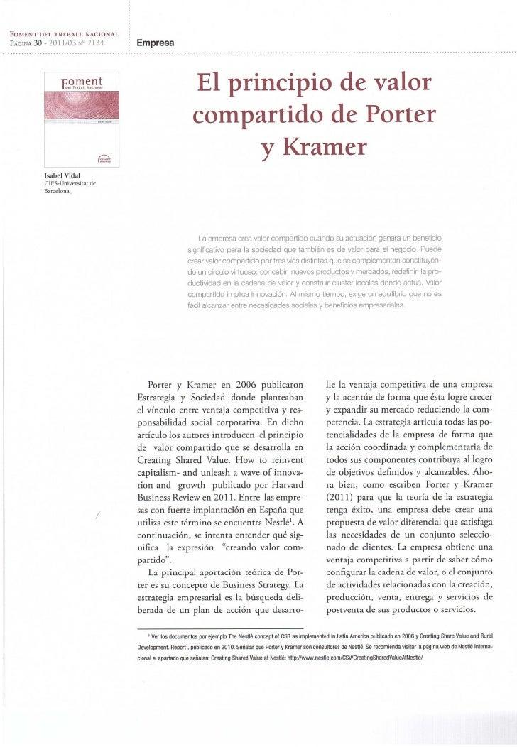 Vidal, Isabel (2011) El principio de valor compartido de Porter y Kramer
