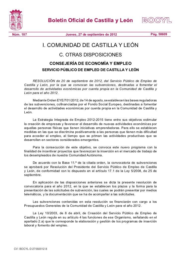 Fomento Actividades Economicas de la omunidad de Castilla y León 2012