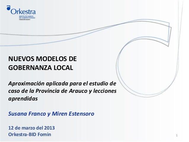 NUEVOS MODELOS DEGOBERNANZA LOCALAproximación aplicada para el estudio decaso de la Provincia de Arauco y leccionesaprendi...